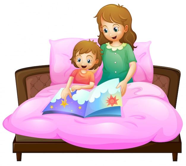 ベッドで子供に就寝時の物語を伝える母 無料ベクター