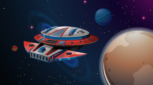 宇宙船の惑星のシーン 無料ベクター