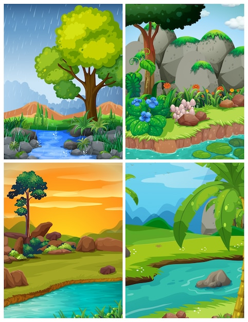 川のある四つの森の風景 無料ベクター