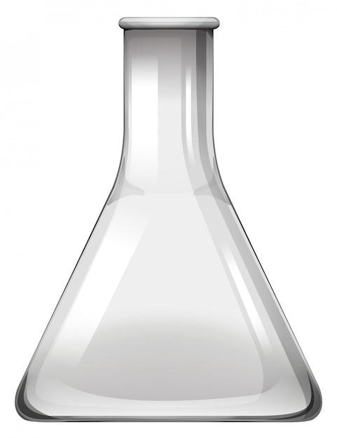白の空のガラスビーカー 無料ベクター