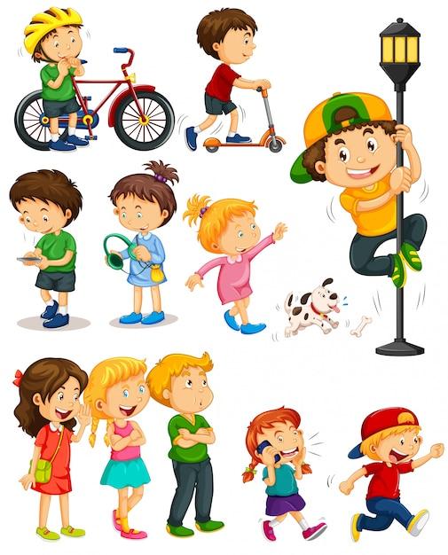 さまざまな活動をしている子供たち 無料ベクター