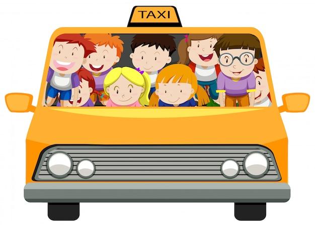 タクシーに乗る男の子と女の子 無料ベクター