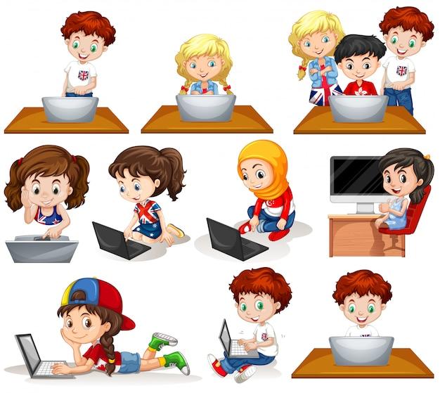 コンピューターで作業している男の子と女の子 無料ベクター