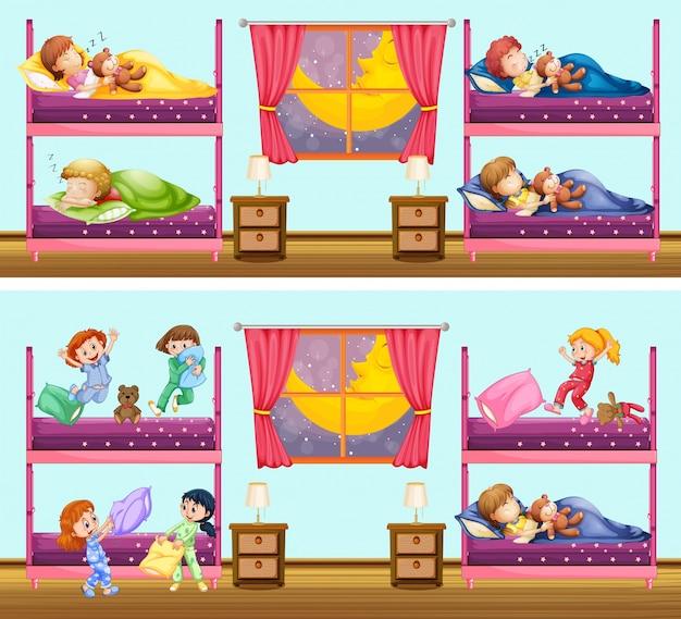 Две сцены детей в спальнях Бесплатные векторы