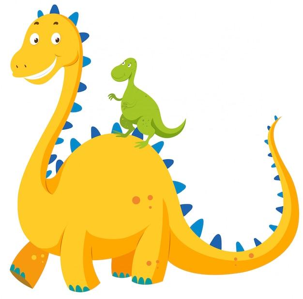 大きな恐竜と小さな恐竜 無料ベクター