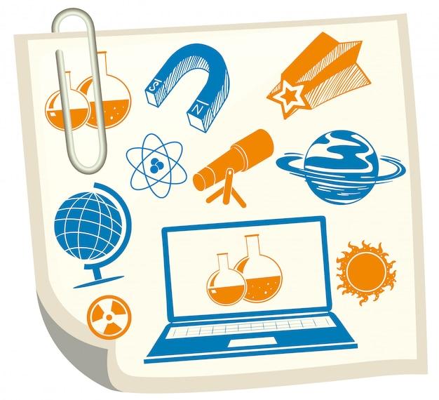 白い紙の上の科学のシンボル 無料ベクター