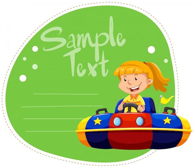車をぶつけて女の子とボーダーデザイン 無料ベクター