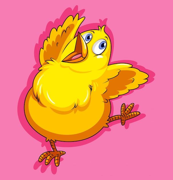 Маленькая курица на розовом Бесплатные векторы
