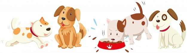 さまざまなアクションの犬 無料ベクター