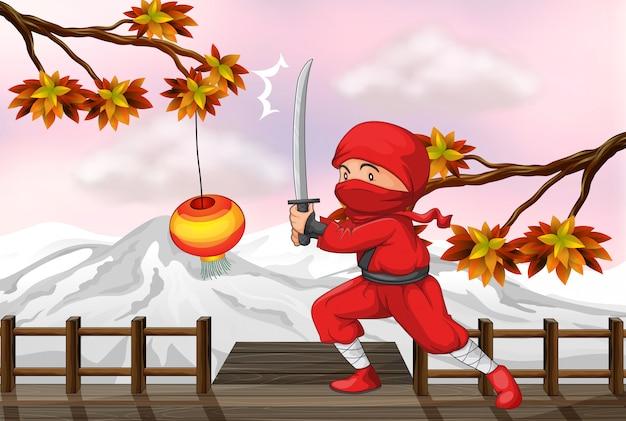 木製の橋で剣を持つ赤い忍者 無料ベクター