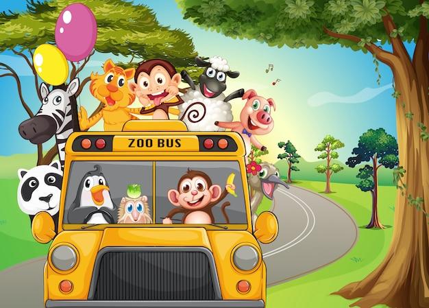 動物園の動物でいっぱいのバス 無料ベクター