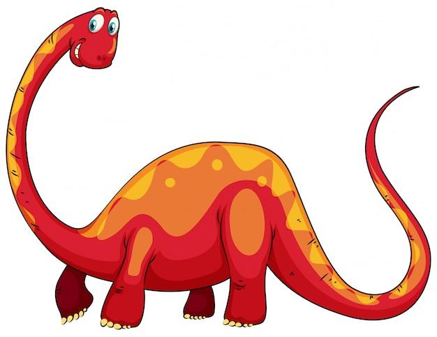 長い首を持つ赤い恐竜 無料ベクター