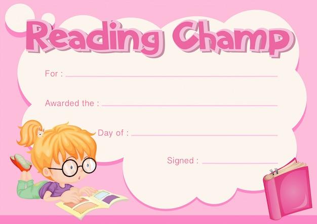 Чтение сертификата чемпиона с книгой чтения девушки Бесплатные векторы