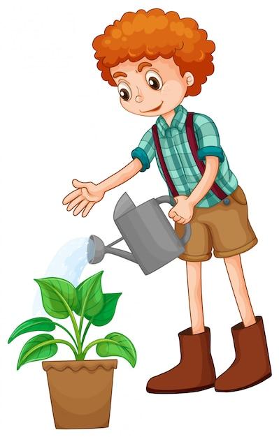 植物に水をまく少年 無料ベクター