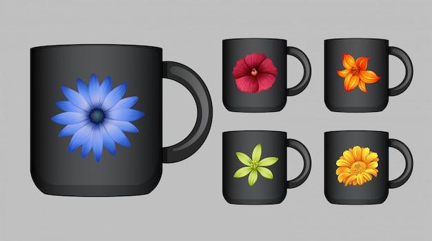 色とりどりの花でコーヒーカップのデザイン 無料ベクター