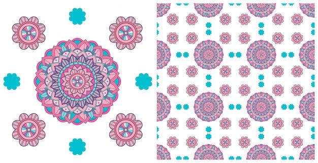 カラフルなマンダラパターンでシームレスなデザイン 無料ベクター