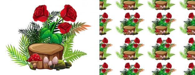 赤いバラとキノコのパターン 無料ベクター