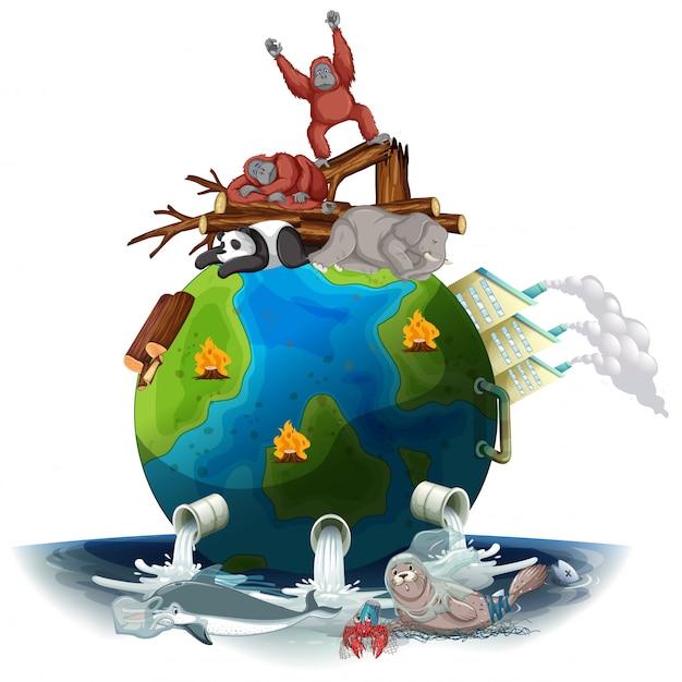 Загрязнения на земле умирающими животными Бесплатные векторы