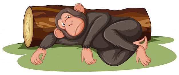 Больная обезьяна лежит у бревна Бесплатные векторы