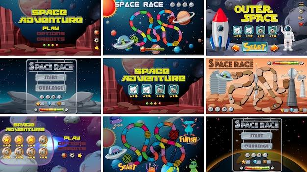 Набор космических игр Бесплатные векторы