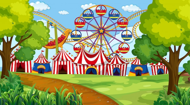 Цирк с аттракционами в парке Бесплатные векторы