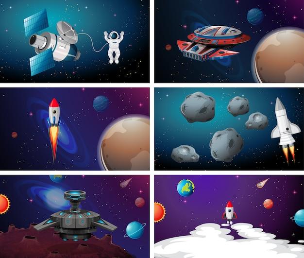 Космическая сцена Бесплатные векторы