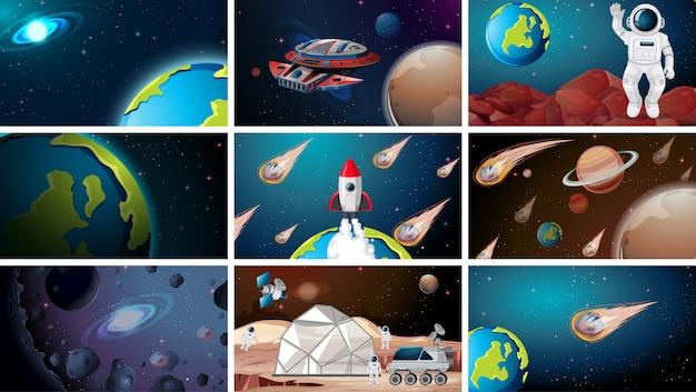 Множество разных космических сцен Бесплатные векторы