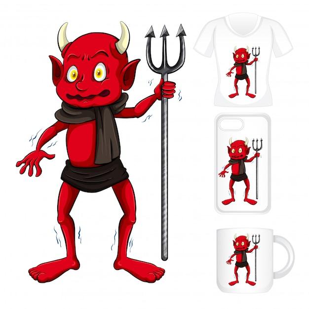 赤い悪魔とグラフィックのさまざまな製品 無料ベクター