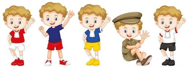 Мальчик с счастливым лицом в разных костюмах Бесплатные векторы