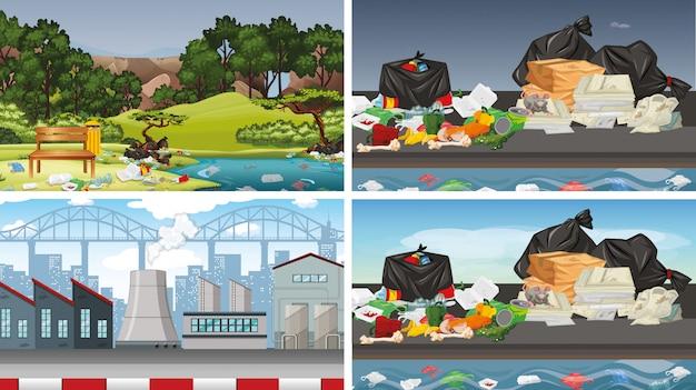 Набор загрязненных сцен Бесплатные векторы