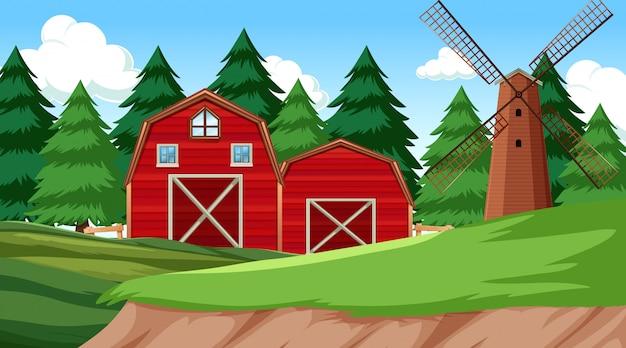 農場のある自然環境の風景 無料ベクター