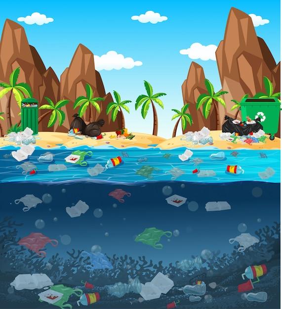 海のビニール袋による水質汚染 無料ベクター