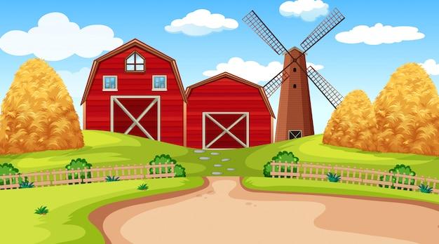 Ферма сцена в природе с сараем Бесплатные векторы