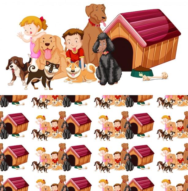 Бесшовный фон с детьми и собаками Бесплатные векторы
