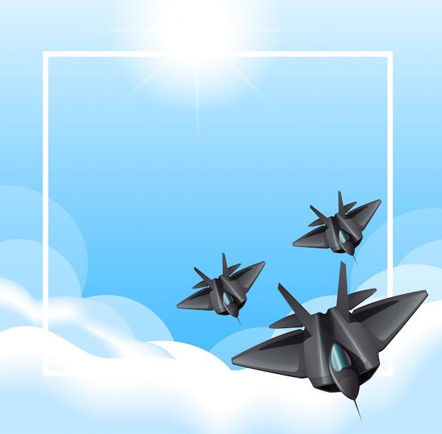 空を飛んでいるジェット機との国境 無料ベクター