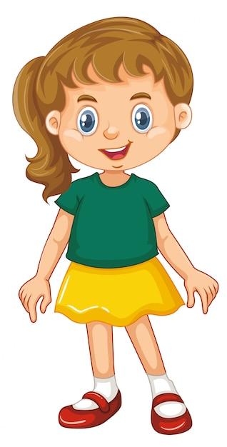 白い背景の上の幸せな笑顔を持つ少女 Premiumベクター