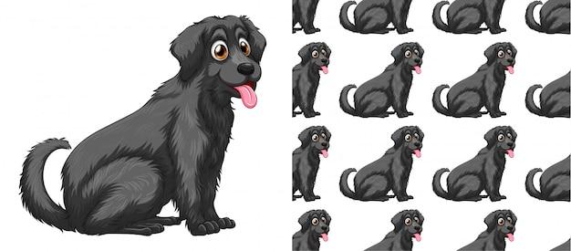 シームレスで孤立した犬パターン漫画 無料ベクター