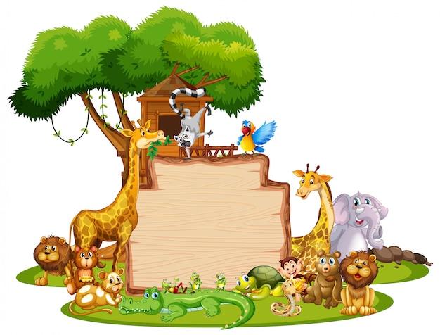 Шаблон границы с милыми животными Бесплатные векторы