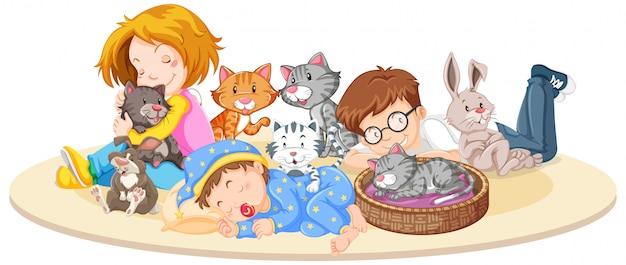 Дети с животными на изолированных Бесплатные векторы