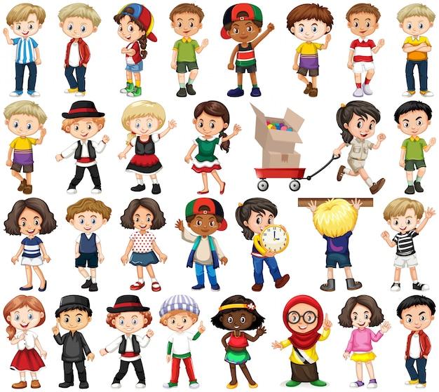 Набор счастливых детей в разных акциях Бесплатные векторы
