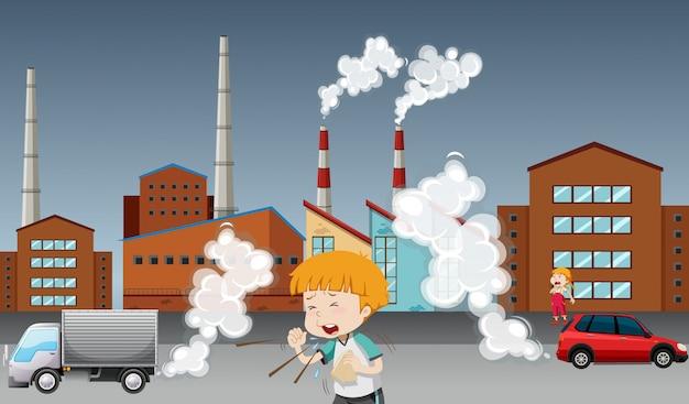 子供と工場の地球温暖化ポスター 無料ベクター