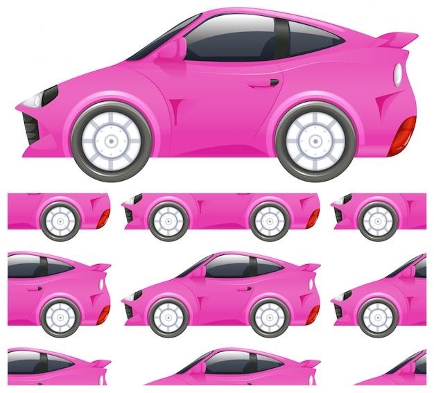 白で隔離されるシームレスなピンク車パターン 無料ベクター