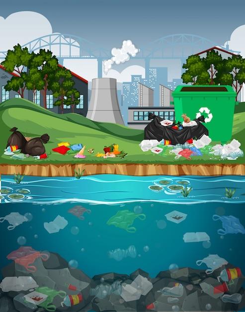 川のビニール袋による水質汚染 無料ベクター