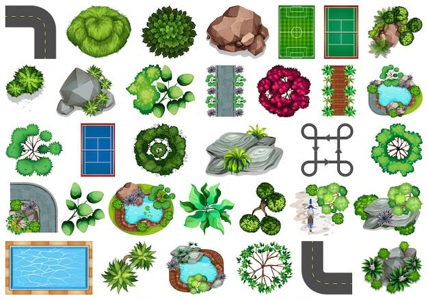 Коллекция тематических объектов на открытом воздухе и элементов растений Бесплатные векторы