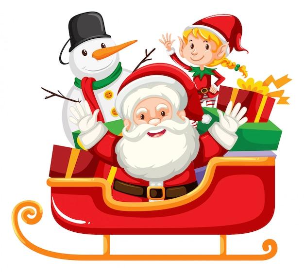 サンタクロースと赤いそりで雪だるま 無料ベクター