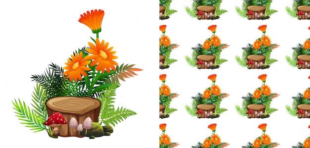 シームレスなオレンジのガーベラの花とキノコ 無料ベクター