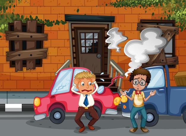 建物の前で自動車事故と事故シーン 無料ベクター
