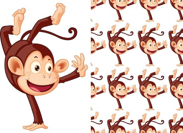 シームレスな猿動物パターン漫画 無料ベクター