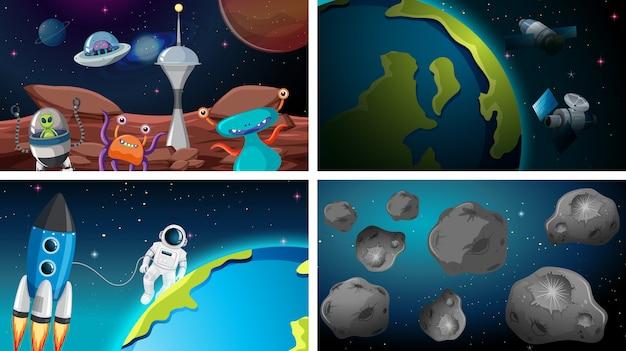 Набор космических фонов Бесплатные векторы