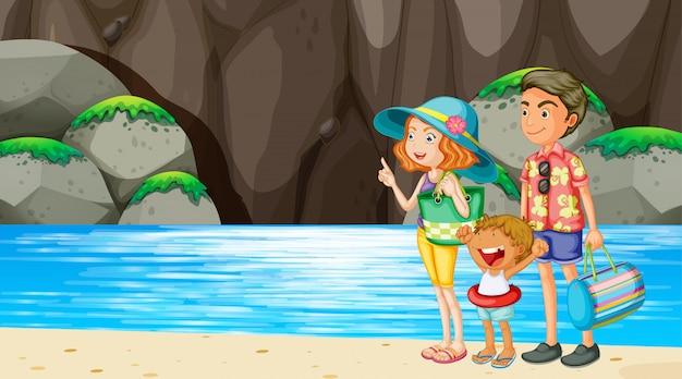 ビーチのシーンで家族 無料ベクター